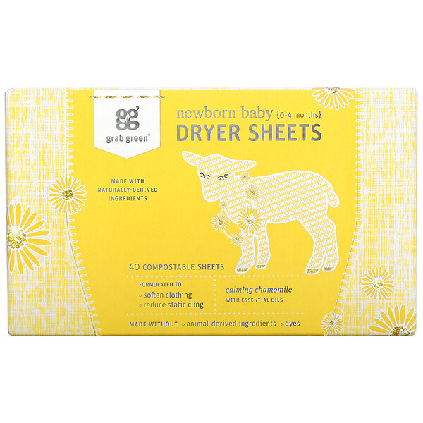 Newborn Baby Dryer Sheets, 0-4 Months, Calming Chamomile, 40 Sheets
