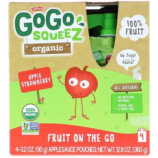 GoGo SqueeZ, Organic Applesauce, Apple Strawberry, 4 Pouches, 3.2 oz (90 g) Each