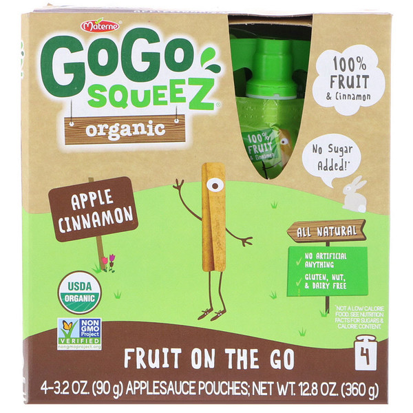 GoGo SqueeZ, Органическое яблочное пюре, яблоко-корица, 4 пакетика по 3,2 унц. (90 г) (Discontinued Item)