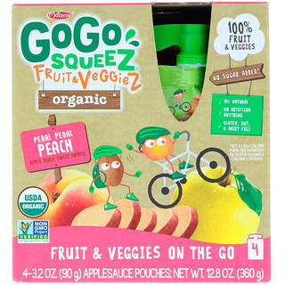 GoGo SqueeZ, Organic Fruit and VeggieZ, Pedal Pedal Peach, 4 Pouches, 3.2 oz (90 g) Each
