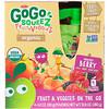 GoGo SqueeZ, فاكهة وخضار عضوية، توت باولدر، 4 عبوات، 3.2 أونصة (90 غرام) لكل منها