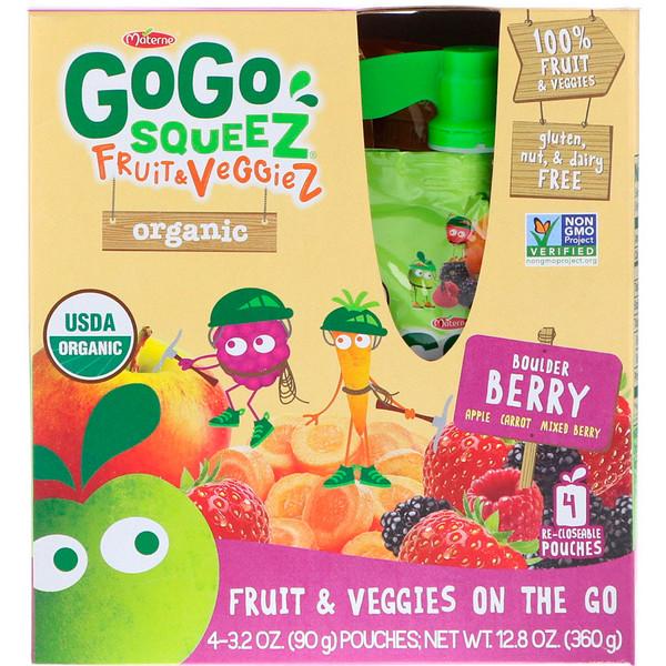 GoGo SqueeZ, فاكهة وخضار عضوية، توت باولدر، 4 عبوات، 3.2 أونصة (90 غرام) لكل منها (Discontinued Item)