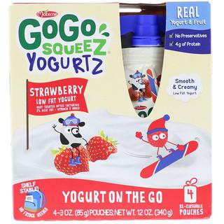 GoGo SqueeZ, YogurtZ, Strawberry, 4 Pouches, 3 oz (85 g) Each