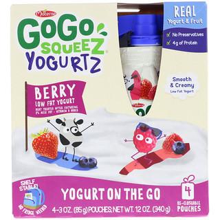 GoGo SqueeZ, YogurtZ, Berry, 4 Pouches, 3 oz (85 g) Each