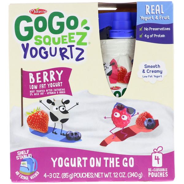 GoGo SqueeZ, YogurtZ、ベリー、4ポーチ、各3オンス (85 g) (Discontinued Item)