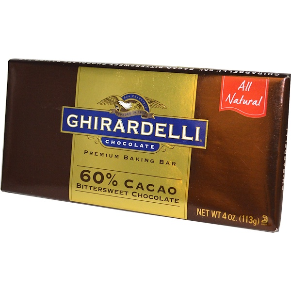 Ghirardelli, Premium Baking Bar, 60% Cacao, Bittersweet Chocolate, 4 oz (113 g) (Discontinued Item)