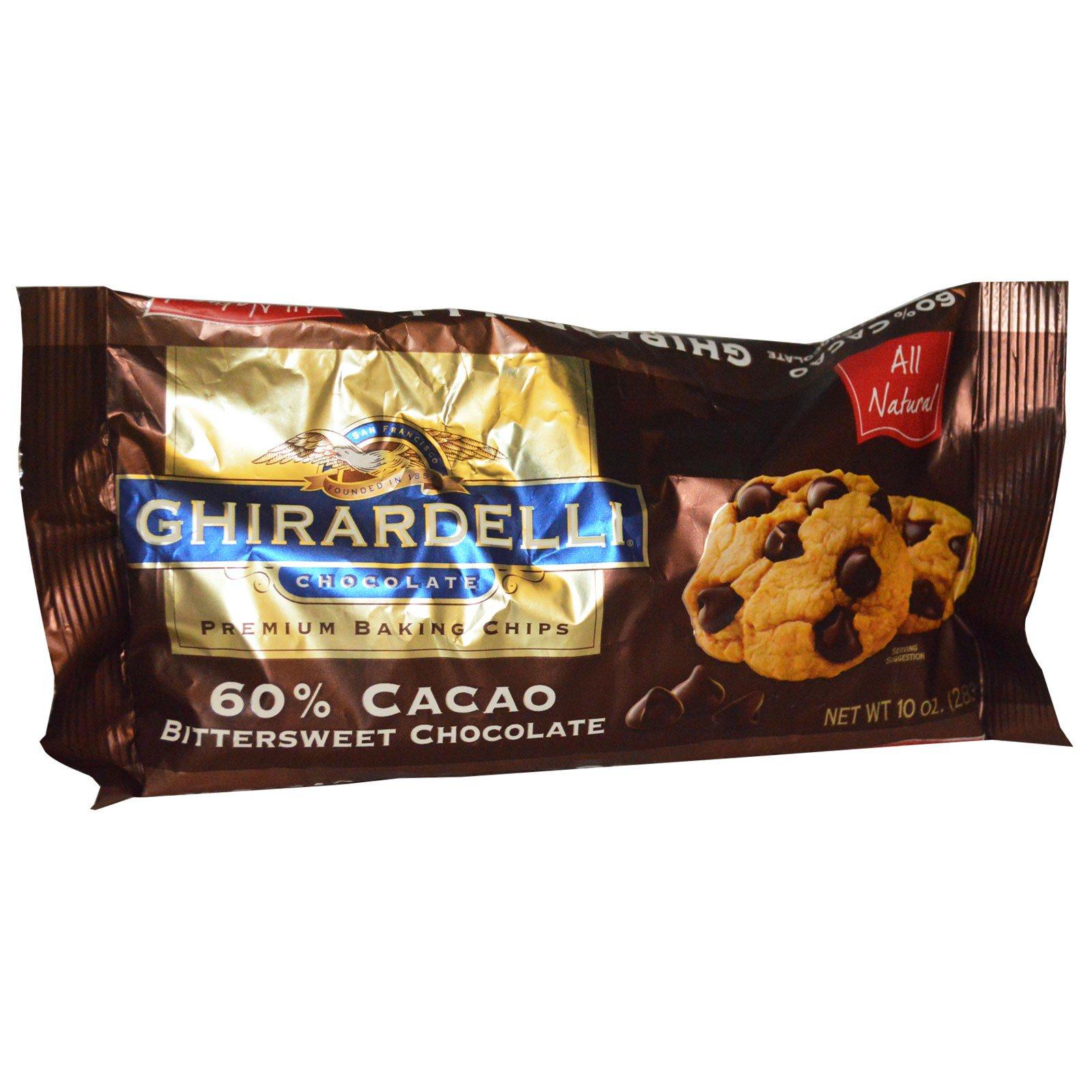 Ghirardelli, Ghirardelli, запеченные премиум-чипсы, шоколад с горько-сладким шоколадом с 60% какао, 10 унций (283 г)