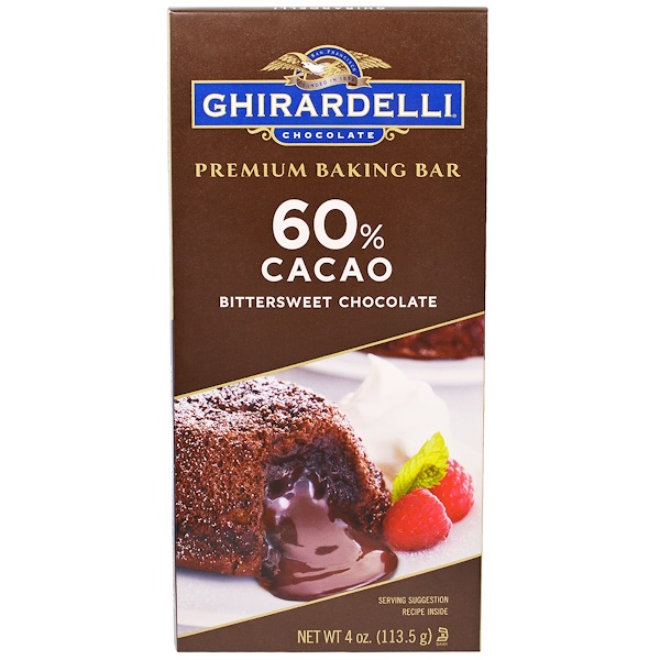 Ghirardelli, Premium Baking Bar, 60% Cacao Bittersweet Chocolate, 4 oz (113.5 g) (Discontinued Item)