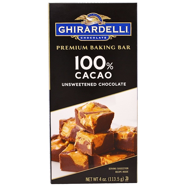 Ghirardelli, Premium Baking Bar, 100% Cacao, Unsweetened Chocolate, 4 oz (113.5 g) (Discontinued Item)