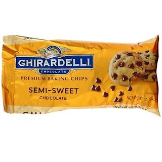Ghirardelli, プレミアム ベーキング チップス,  セミスイートチョコレート, 12 oz (340 g)