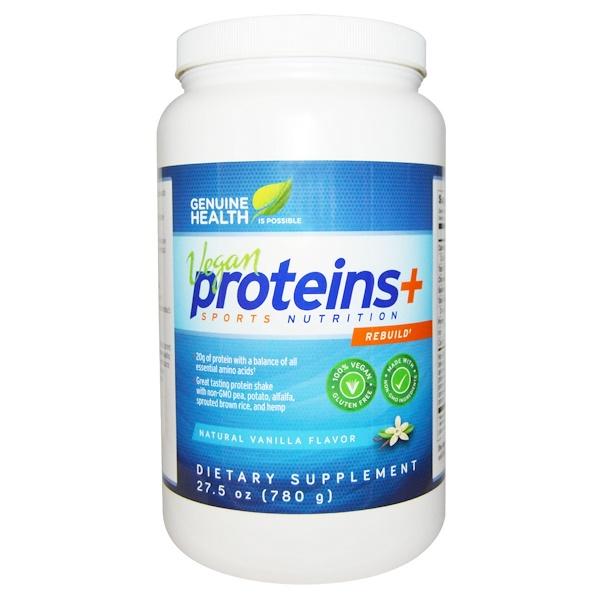 Genuine Health Corporation, Vegan Proteins+, Natural Vanilla Flavor, 27.5 oz (780 g) (Discontinued Item)