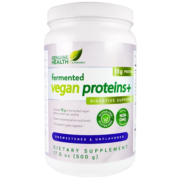 Genuine Health, Fermented Vegan Proteins+, Digestive Support, Unsweetened & Unflavored, 17.6 oz (500 g) (Discontinued Item)