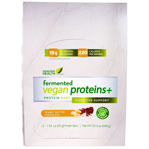 Genuine Health, Fermented Vegan Proteins +, Peanut Butter Chocolate, 12 Protein Bars, 1.94 oz (55 g) Each (Discontinued Item)