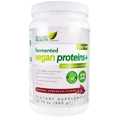 Genuine Health Corporation Fermented Vegan Proteins, Digestive Support, Natural Chocolate Flavor, 19.75 oz (560 g)
