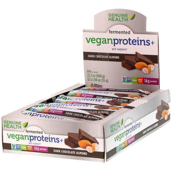 Genuine Health, Fermented Vegan Proteins+, Dark Chocolate Almond, 12 Protein Bars, 1.94 oz (55 g) Each