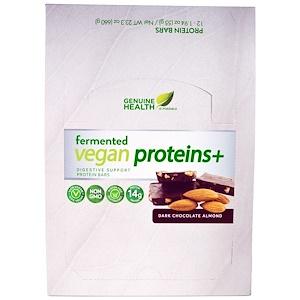 Genuine Health Corporation, Ферментированные веганские протеины +, темный шоколад, миндаль, 12 протеиновых батончика, по 1.94 унции(55 г) каждый