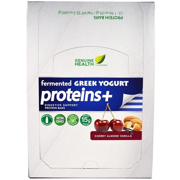 Genuine Health, Fermented Greek Yogurt Proteins +, Cherry Almond Vanilla, 12 Protein Bars, 1.94 oz (55 g) Each (Discontinued Item)
