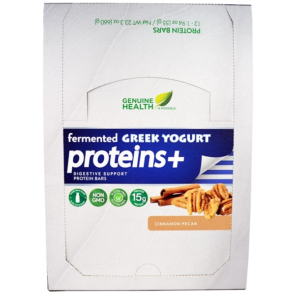 Genuine Health, Fermented Greek Yogurt Proteins +, Cinnamon Pecan, 12 Protein Bars, 1.94 oz (55 g) Each (Discontinued Item)