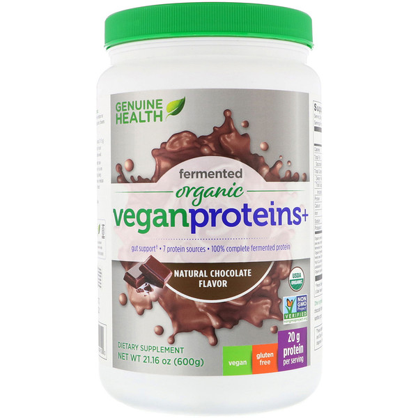 Genuine Health, Fermented Organic Vegan Proteins+, Natural Chocolate Flavor, 1.3 lbs (600 g)