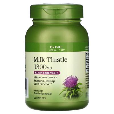 Купить GNC Herbal Plus Milk Thistle, Extra Strength, 1300 mg, 60 Caplets
