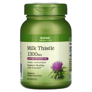 GNC, Herbal Plus, Milk Thistle, Extra Strength, 1,300 mg, 60 Caplets