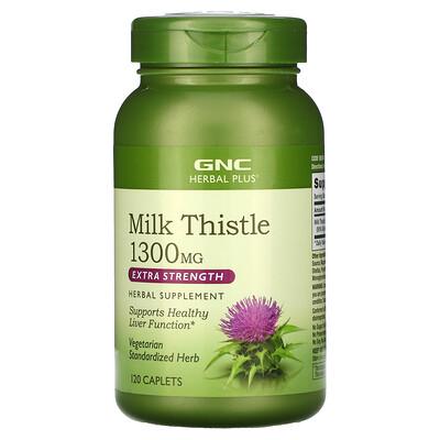 Купить GNC Herbal Plus Milk Thistle, Extra Strength, 1, 300 mg, 120 Caplets