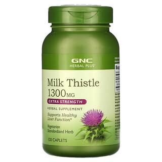 GNC, Herbal Plus, Milk Thistle,  Extra Strength, 1,300 mg, 120 Caplets