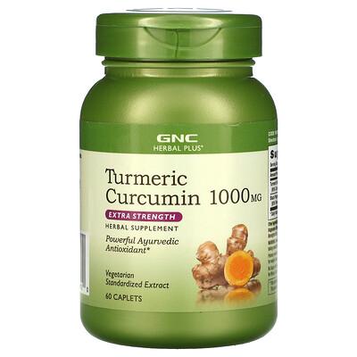 Купить GNC Herbal Plus Turmeric Curcumin Extra Strength, 1, 000 mg, 60 Caplets