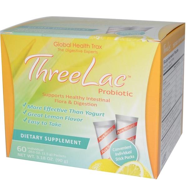 Global Health Trax, ThreeLac益生菌, 檸檬味, 60 包, 每包0、053 oz (1、5 g)