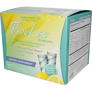 Global Health Trax, FiveLac Probiotic, Lemon Flavor, 60 Packets, .053 oz (1.5 g) Each