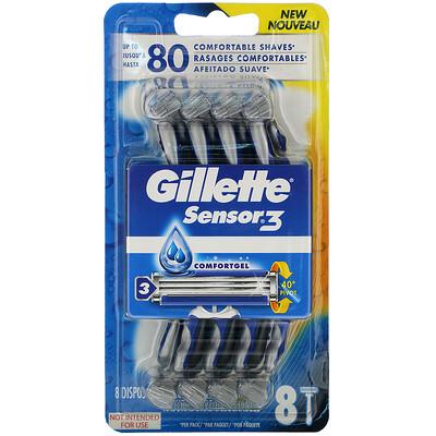 Купить Gillette Sensor3, одноразовые бритвы с технологией ComfortGel, 8шт.