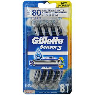 Gillette, Sensor3, Comfortgel Disposable Razors, 8 Razors