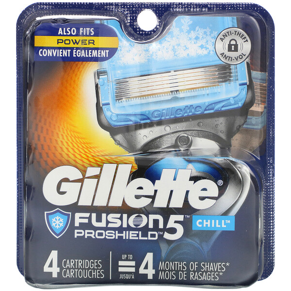 Gillette, Fusion5 Proshield, Chill, 4 Cartridges