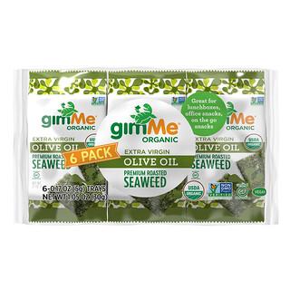 gimMe, премиальные жареные морские водоросли, нерафинированное оливковое масло высшего качества, 6пакетиков 5г (0,17унции) каждый