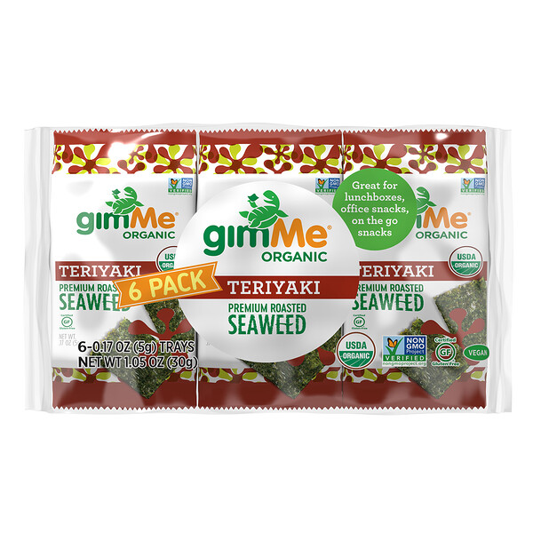 Premium Roasted Seaweed, Teriyaki, 6 Pack, 0.17 oz (5 g) Each