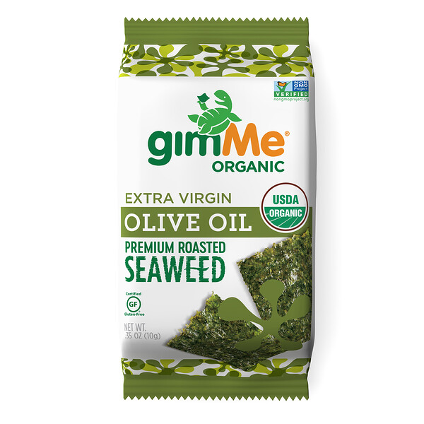 Premium Roasted Seaweed, Extra Virgin Olive Oil, .35 oz (10 g)