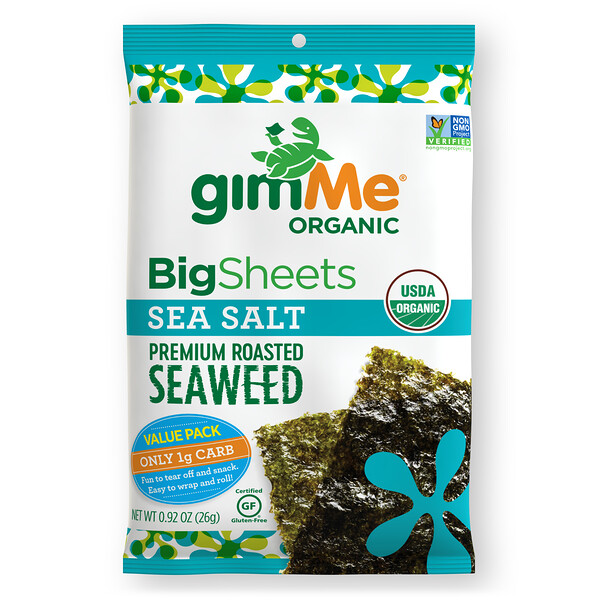 Premium Roasted Seaweed, Big Sheets, Sea Salt, 0.92 oz (26 g)