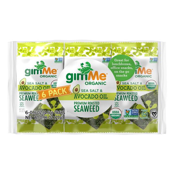 优质烤海藻,海盐和鳄梨油,6 包。每份 0.16 盎司(4.5 克)