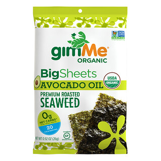 gimMe, Premium Roasted Seaweed, Big Sheets, Avocado Oil, 0.92 oz (26 g)