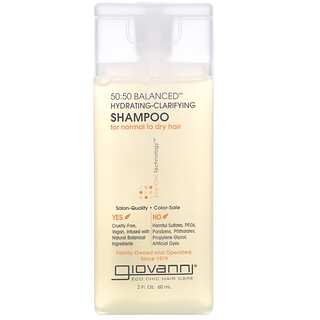 Giovanni, 50:50 Balanced, Hydrating-Clarifying Shampoo, For Normal to Dry Hair, 2 fl oz (60 ml)