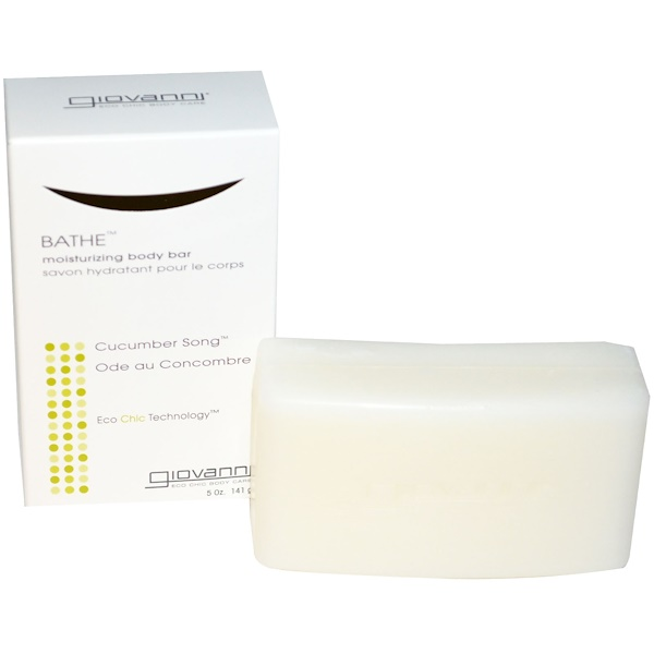 Giovanni, Bathe, Moisturizing Body Bar, Cucumber Song, 5 oz (141 g) (Discontinued Item)