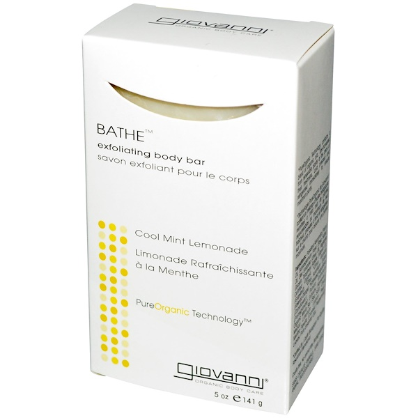 Giovanni, Bathe, Exfoliating Body Bar, Cool Mint Lemonade, 5 oz (141 g) (Discontinued Item)