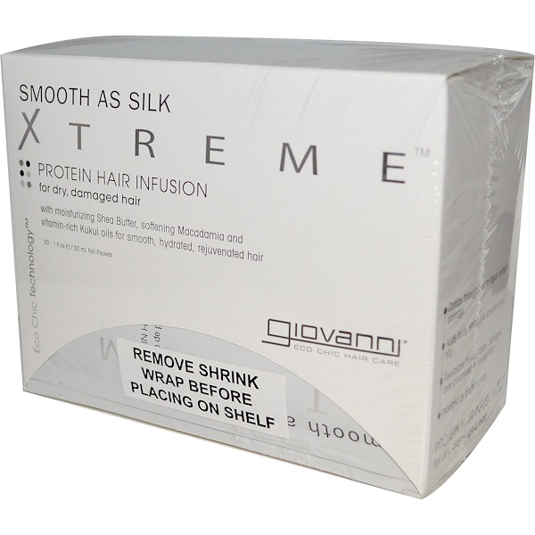 Giovanni, Smooth as Silk Xtreme, Protein Hair Infusion, 20 Foil Packets, 1 fl oz (32 ml) Each (Discontinued Item)