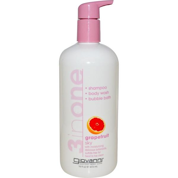 Giovanni, 3 in One, Shampoo, Body Wash, Bubble Bath, Grapefruit Sky, 16 fl oz (473 ml) (Discontinued Item)