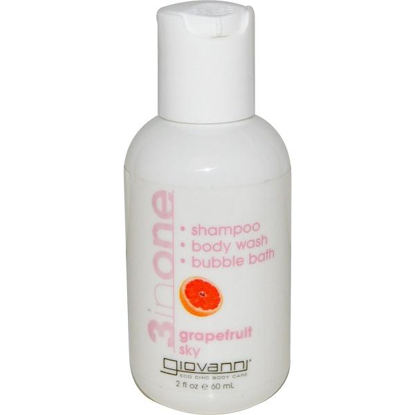 Giovanni, 3 In One, Shampoo - Body Wash - Bubble Bath, Grapefruit Sky, 2 fl oz (60 ml) (Discontinued Item)