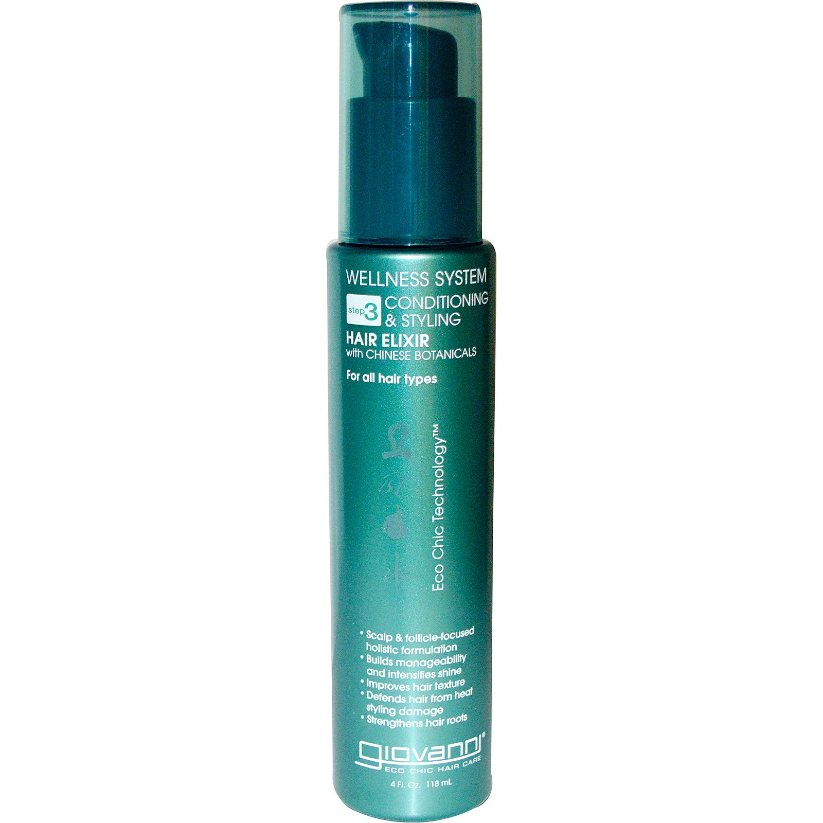 Giovanni, Wellness System, Шаг 3 — ухаживающий эликсир для укладки волос, 4 жидких унций (118 мл)
