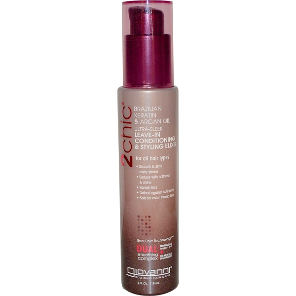 Giovanni, 2chic, Ultra-Sleek Leave-In Conditioning & Styling Elixir, Brazilian Keratin & Argan Oil, 4 fl oz (118 ml)