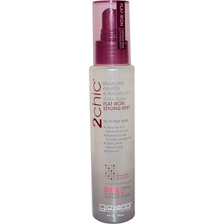 Giovanni, 2chic, Flat Iron Styling Mist, Brazilian Keratin & Argan Oil, 4 fl oz (118 ml)