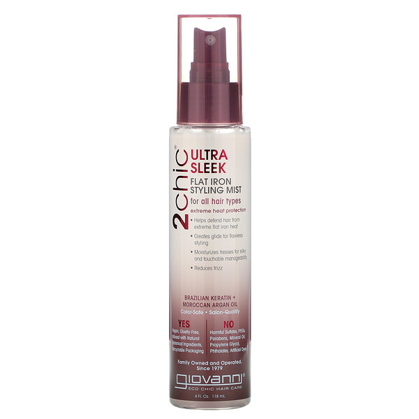 2chic, Flat Iron Styling Mist, Brazilian Keratin & Argan Oil, 4 fl oz (118 ml)