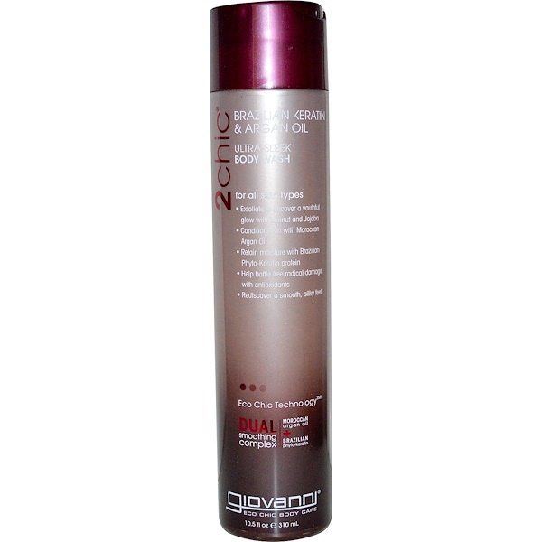 Giovanni, 2chic, Ultra-Sleek Body Wash, Brazilian Keratin & Argan Oil, 10.5 fl oz (310 ml)